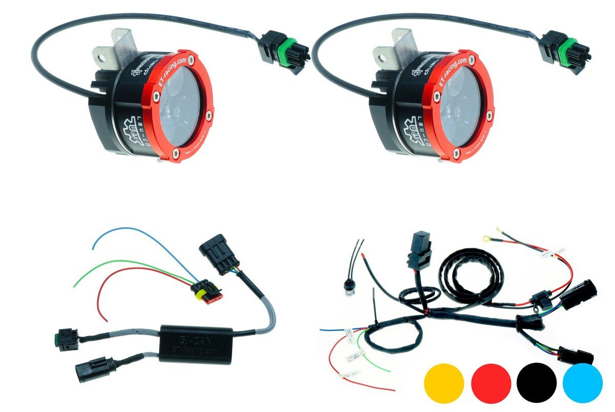 Set 2x Led Lamp Dual.4 with BMW halogen mount + GJ-CAN Driver for BMW
